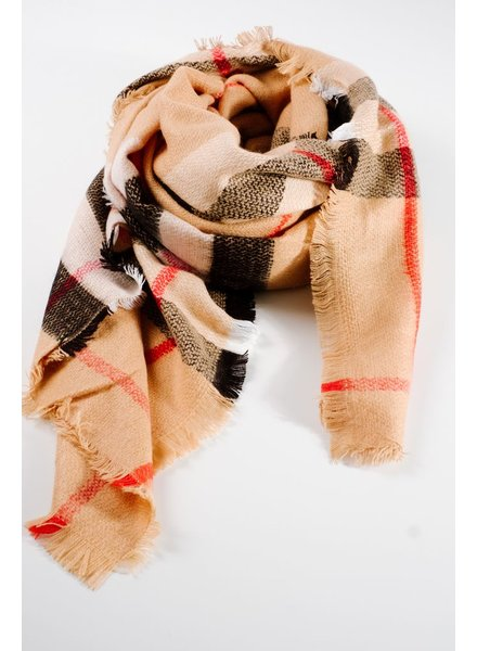 Scarf Camel plaid square blanket