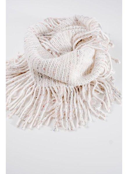 Scarf Ivory fringe infinity scarf