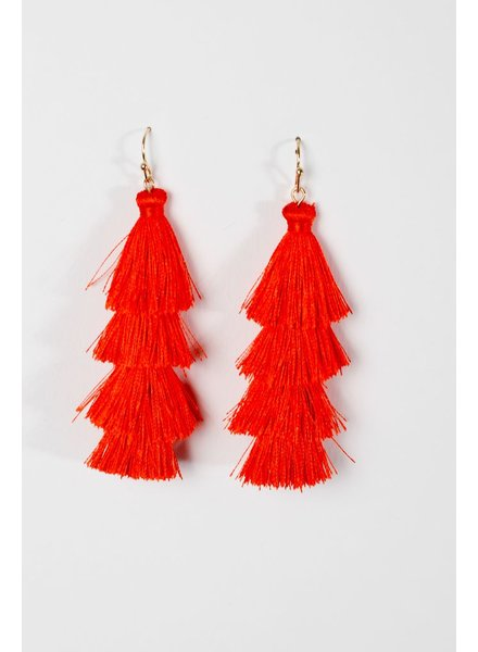 Trend Red tier tassel earrings