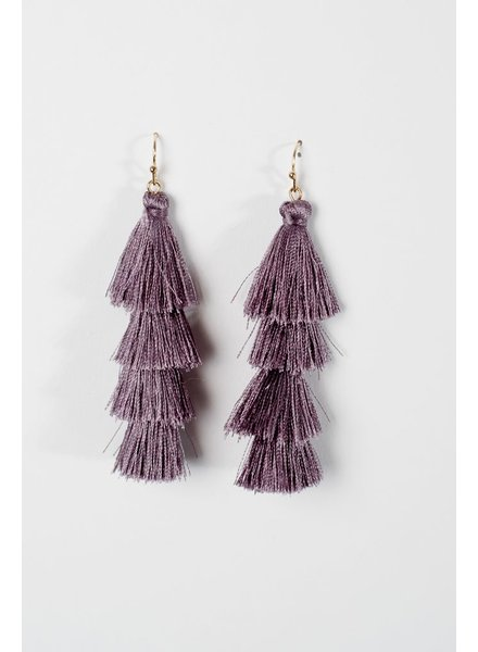 Trend Grey tier tassel earrings