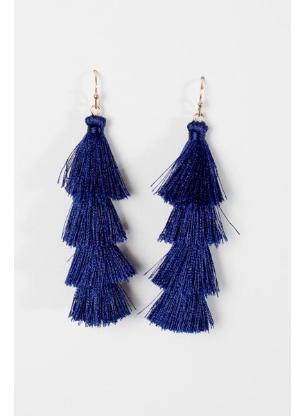 Trend Blue tier tassel earrings