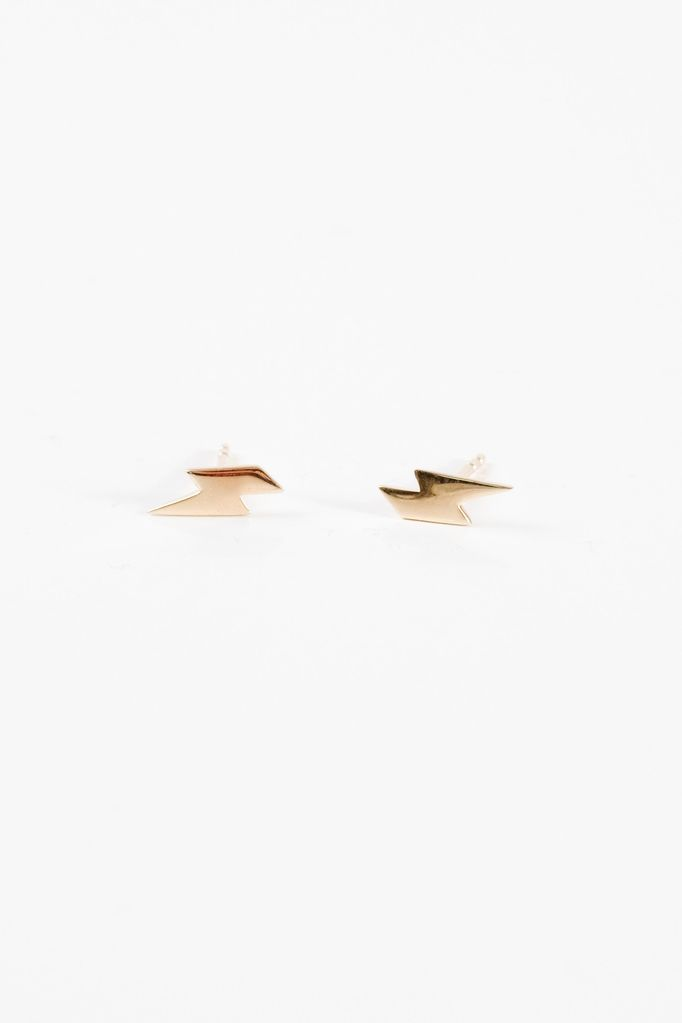 Sterling Gold plated mini lightning bolt studs