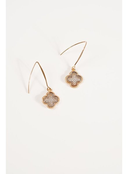 Gold Black clover thread earrings