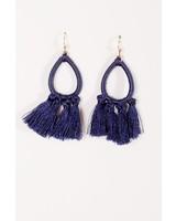 Trend Navy threaded tassel earrings