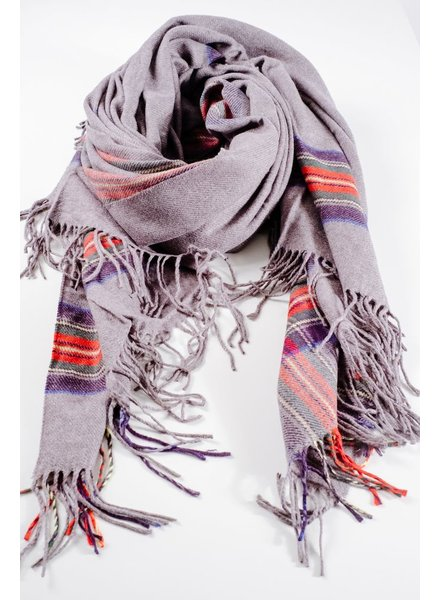 Scarf Plaid accent grey blanket scarf