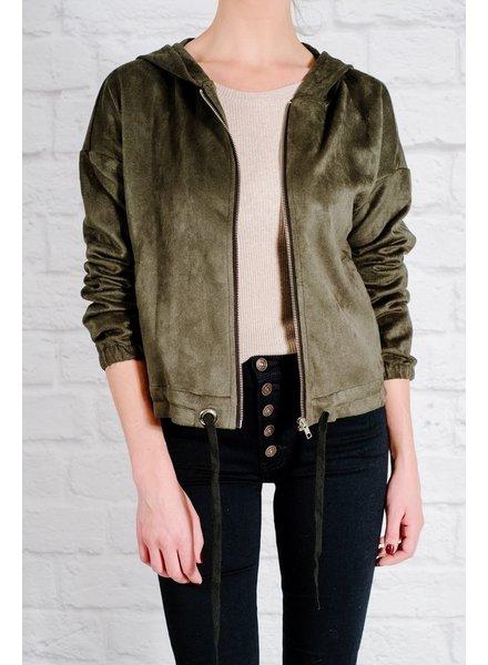 Lightweight Green suede hoodie