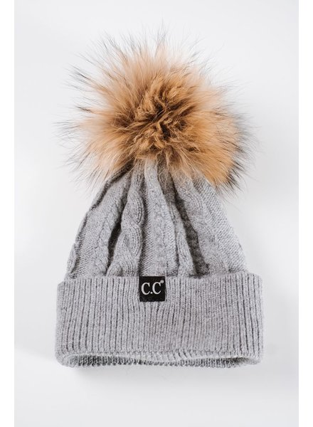 Winter Grey cable knit fur pom hat