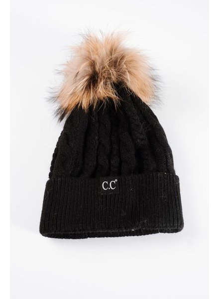Winter Black cable knit fur pom hat