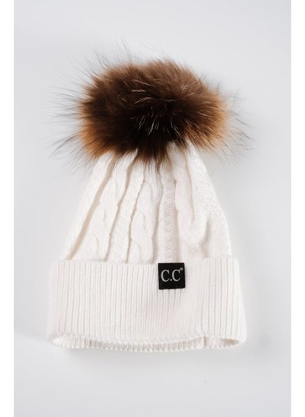 Winter White cable knit fur pom hat