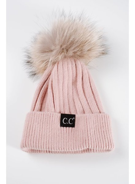 Hat Dusty rose fur pom pom hat