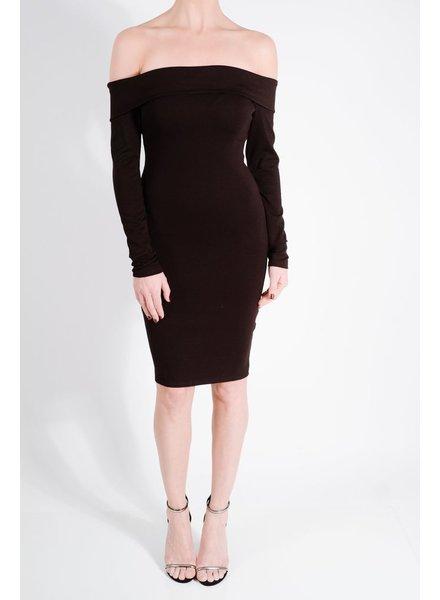 Midi Black foldover midi dress
