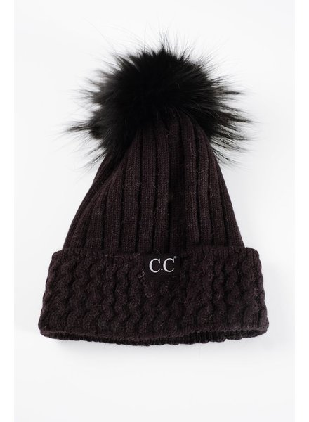 Winter Black on black knit fur pom hat