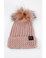 Winter Taupe ribbed & cable knit fur pom hat