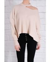 Sweater Beige chili slit shoulder knit
