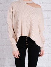 Sweater Beige chili slit shoulder knit