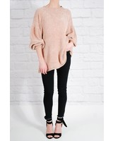 Sweater Gold velor puff sleeve sweater