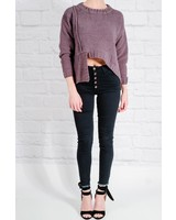 Sweater Charcoal chenille asymmetric sweater