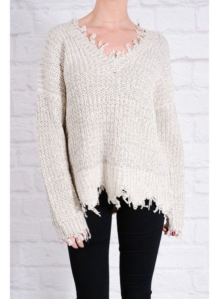 Knit Tattered hem sweater