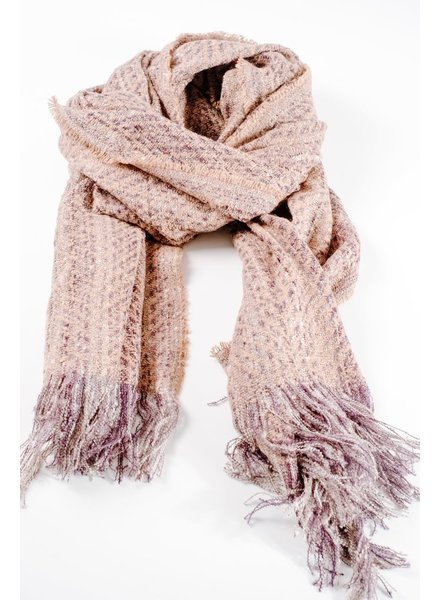 Scarf Tan and navy tweed oblong scarf