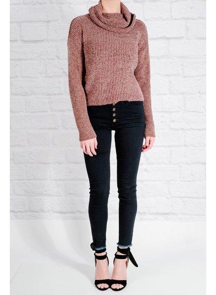 Sweater Plush plum cowl knit