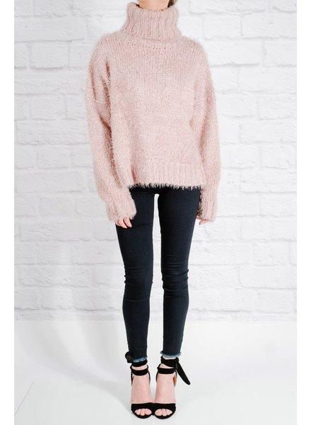 Sweater Mauve mohair chunky knit