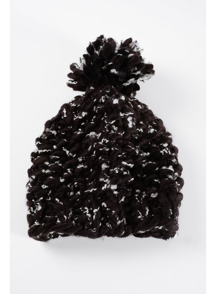 Hat Black marled thick knit hat