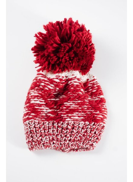 Hat Burgandy oversized pom pom hat