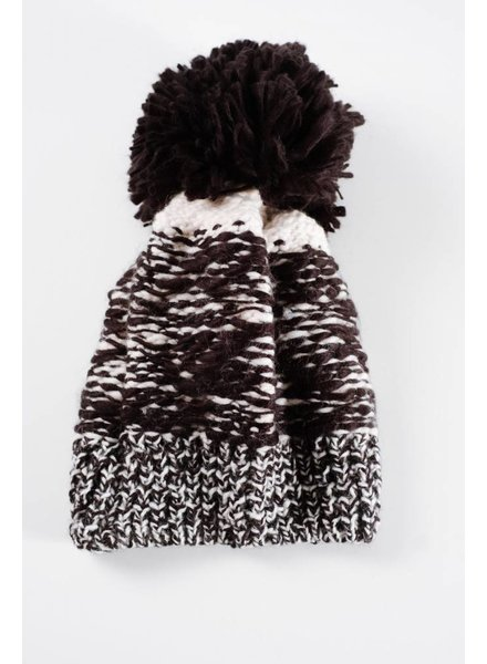 Hat Black oversized pom pom hat