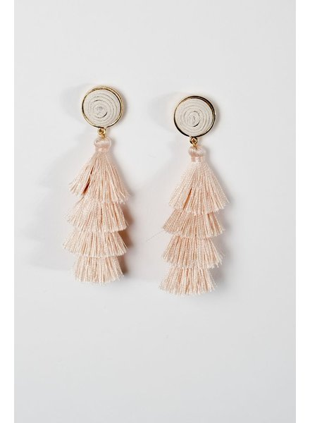 Trend Cream layered tassel post earring