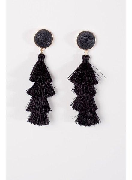 Trend Black layered tassel post earring