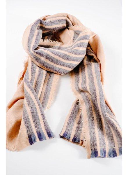Scarf Half striped oblong knit scarf