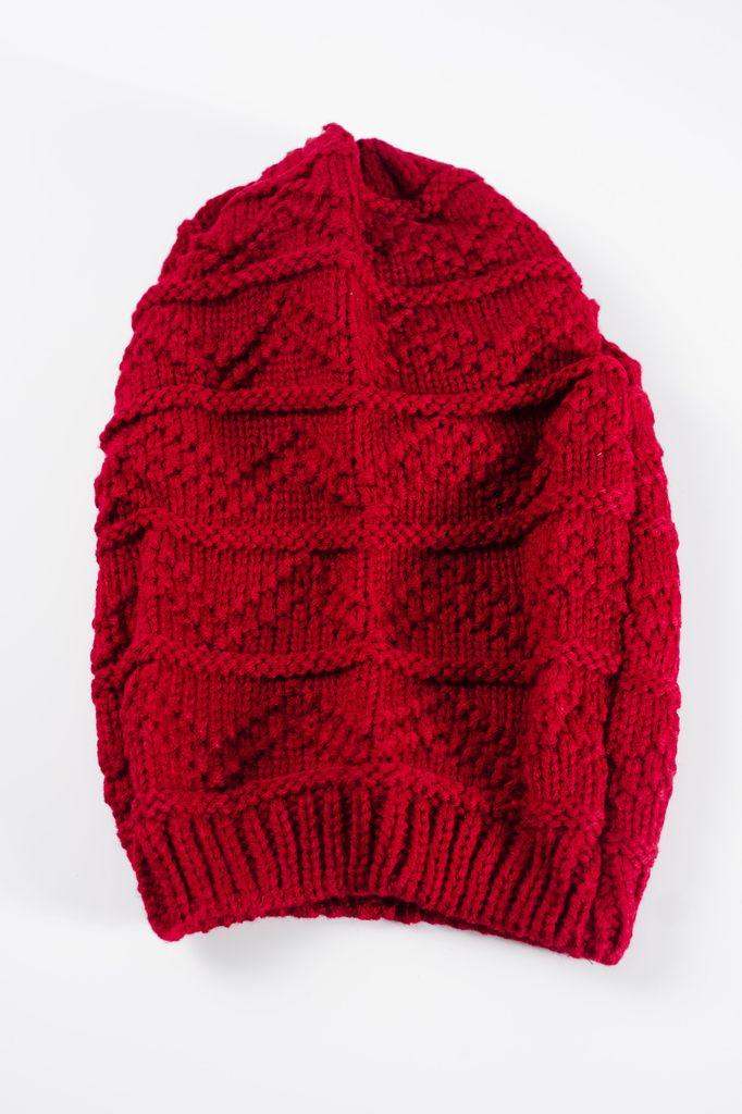 Hat Wine textured slouchy hat