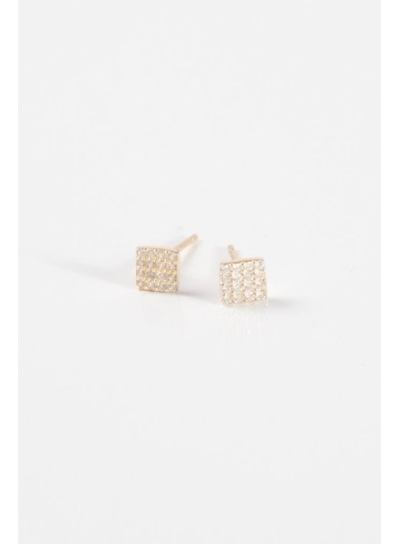 Sterling Gold sterling mini pave square studs