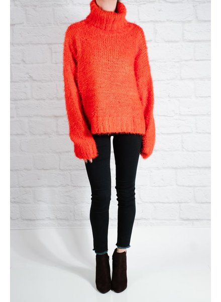 Sweater Red mohair chunky knit