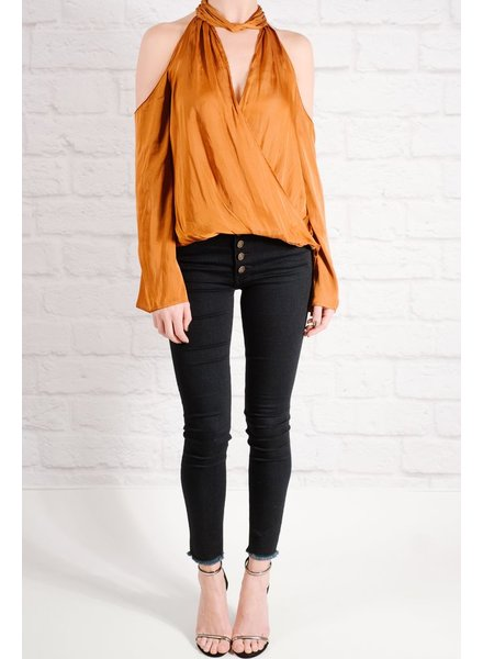 Blouse Rust cutout wrap blouse