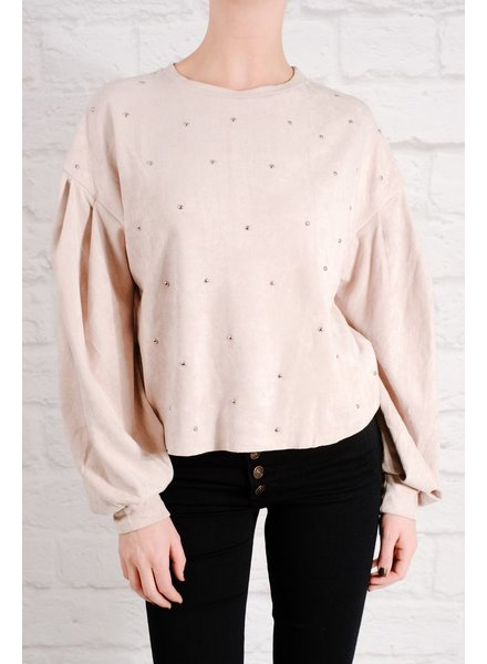 Knit Silver studded suede top