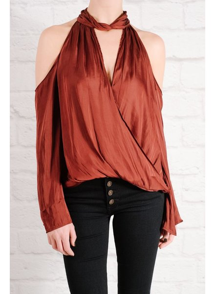 Blouse Wine cutout wrap blouse