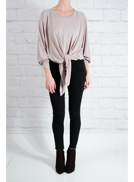 T-shirt Thin knit tie front top