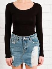 T-shirt Black seamless basic top