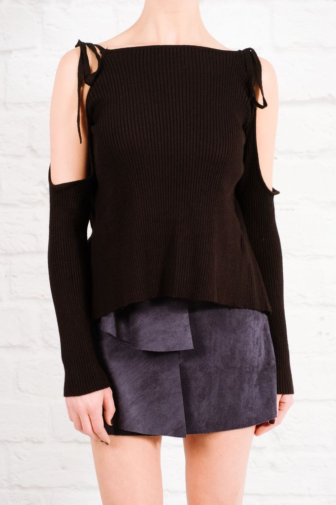 Sweater Black ribbed tie back knit