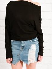 Blouse Black waffle knit ots top