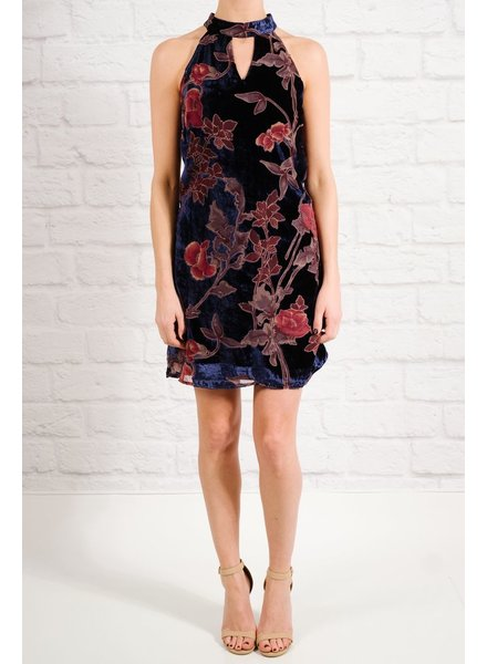 Dressy Navy velvet and floral dress