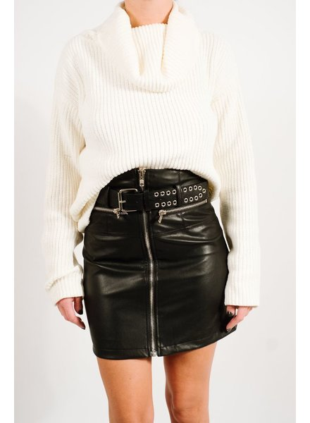 Skirt Belted vegan leather mini