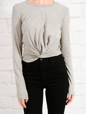 T-shirt Grey front knot t-shirt