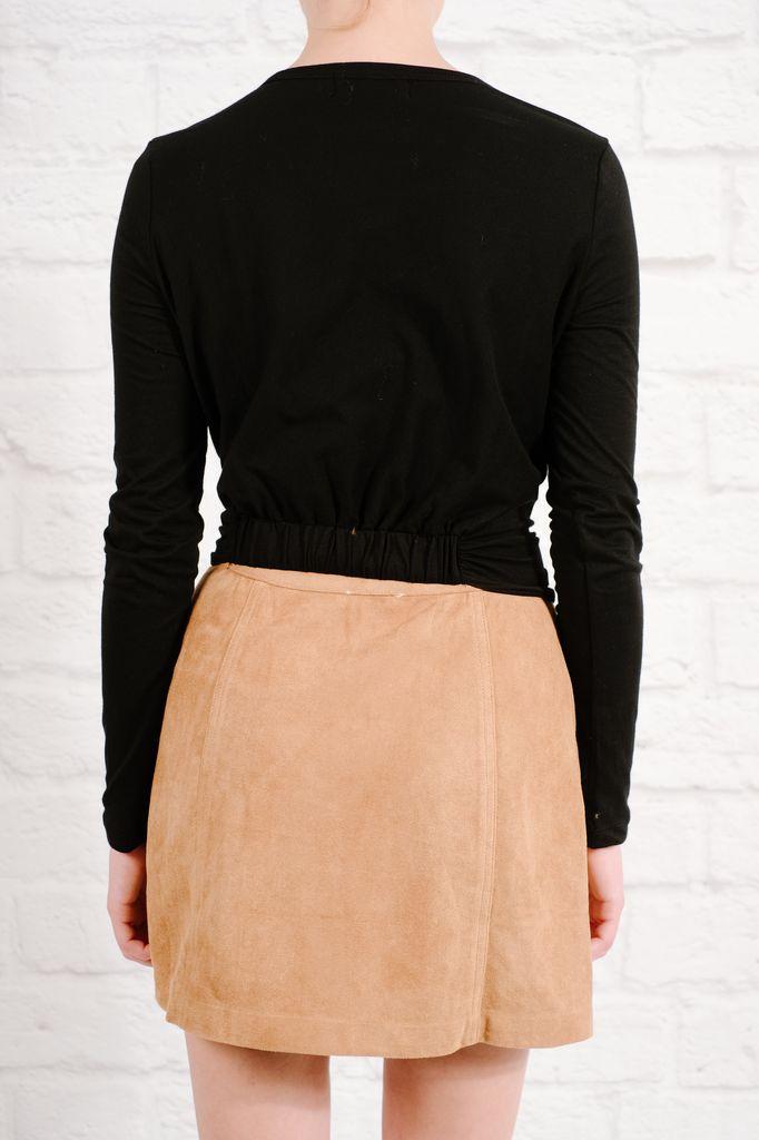 T-shirt Black front knot t-shirt