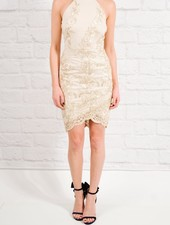 Dressy Gold thread embroidered dress