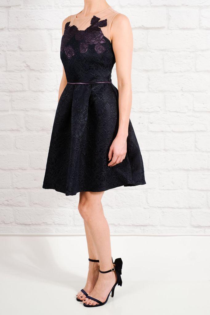 Dressy Navy flare applique dress