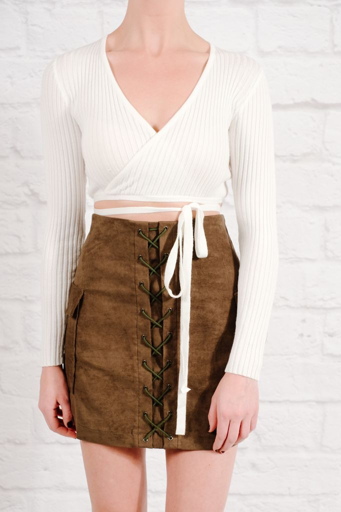 Crop White tie wrap crop top