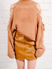 Sweater Camel laced shoulder knit
