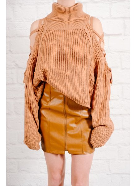 Sweater Camel laced shoulder knit